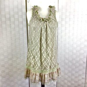 Pretty Good Vintage Look Lace Tank, Sage Green Med
